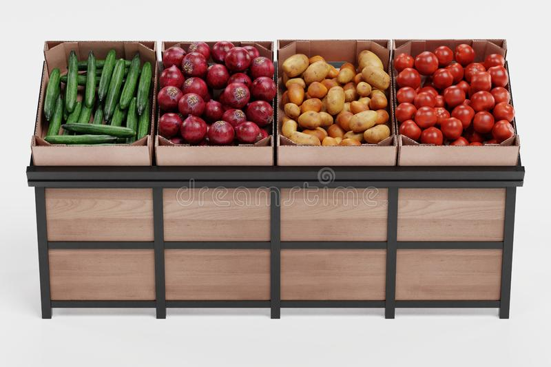3D Render of Vegetable on Stand stock image