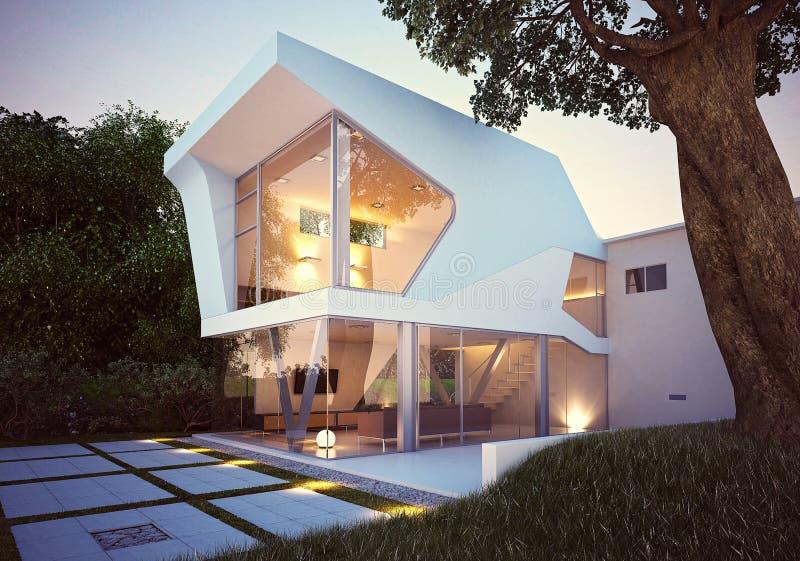 3d render of Villa House Exterior vector illustration