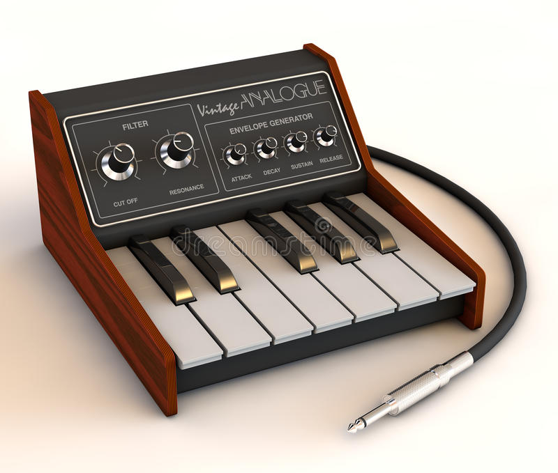 3D render of vintage analog synthesizer concept stock images