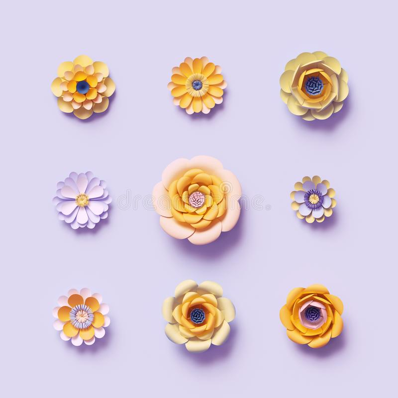 3d render, violet yellow craft paper flowers, floral clip art set, isolated botanical design elements, decorative embellishment. 3d render, violet yellow craft vector illustration