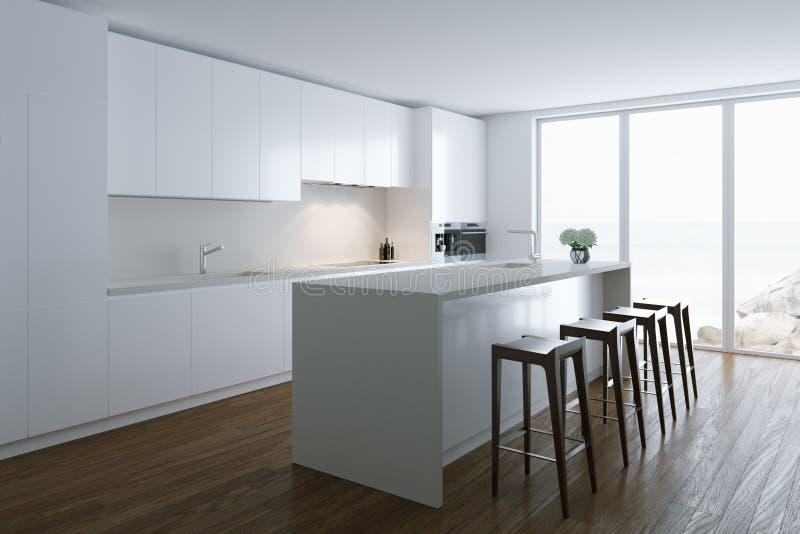 3d render white luxury kitchen in white room in big villa stock illustration