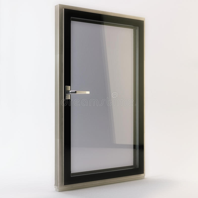 3D render of a window on a white background. 3D illustration of a window on a white background stock illustration