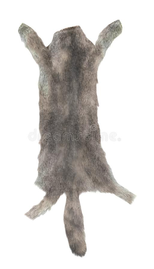 3D Render of Wolf Skin stock image