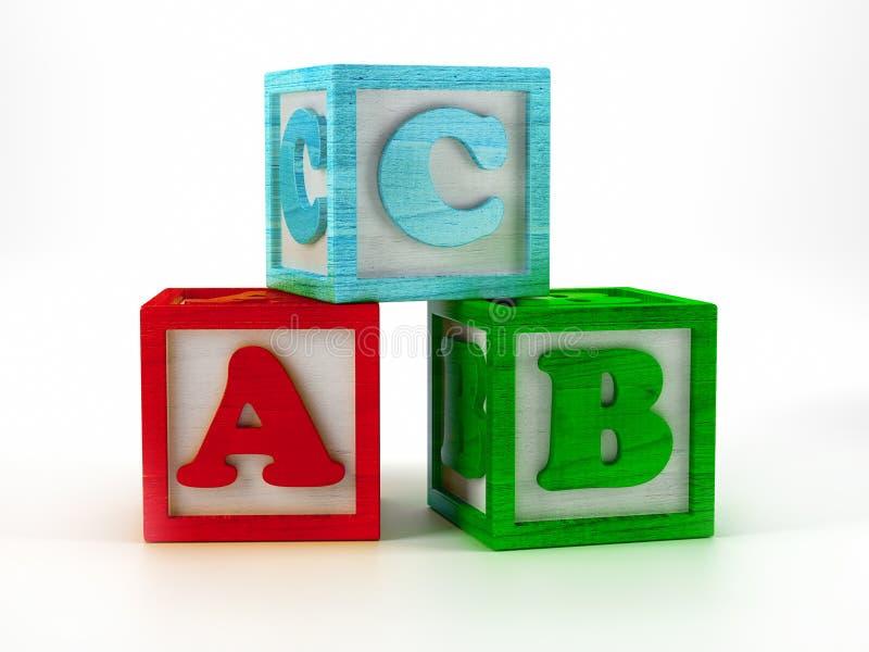 ABC wooden blocks royalty free illustration