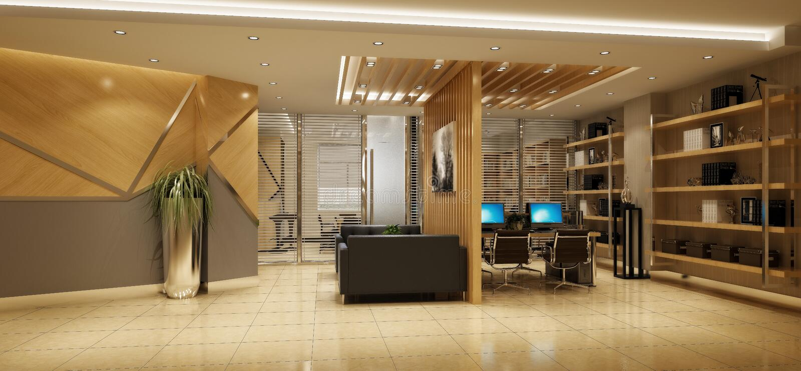 3d render of working office. Open working space royalty free illustration