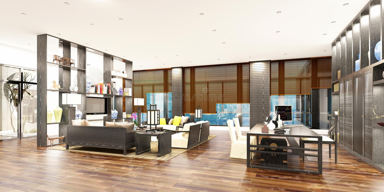 3d render of working office. 3d render of working space, office interior royalty free illustration
