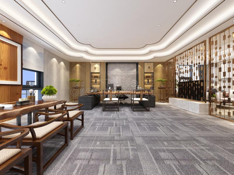 3d render of working office. 3d render of working space, office interior vector illustration