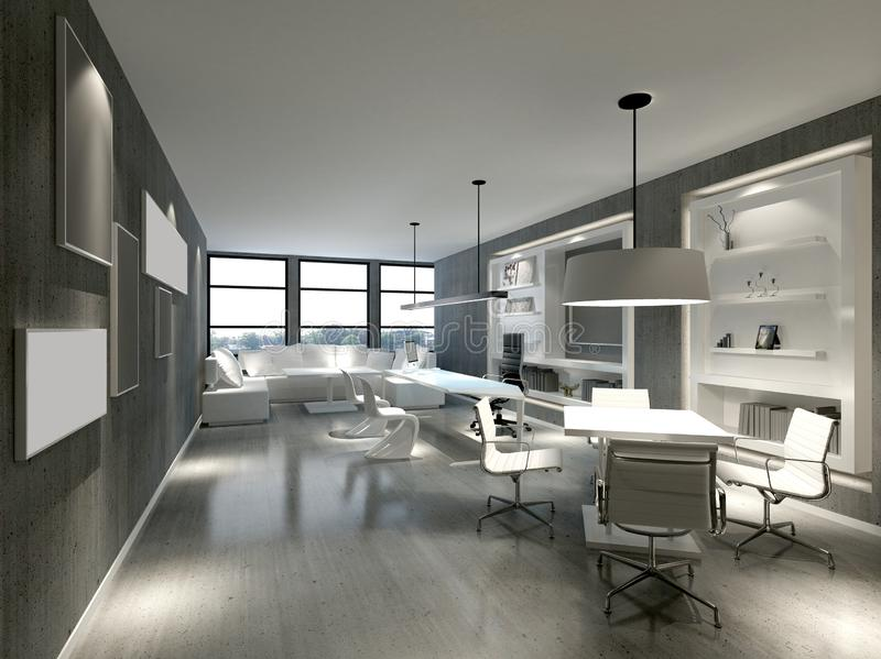 3d render of working office in white color. 3d render of working space, office interior in white color vector illustration