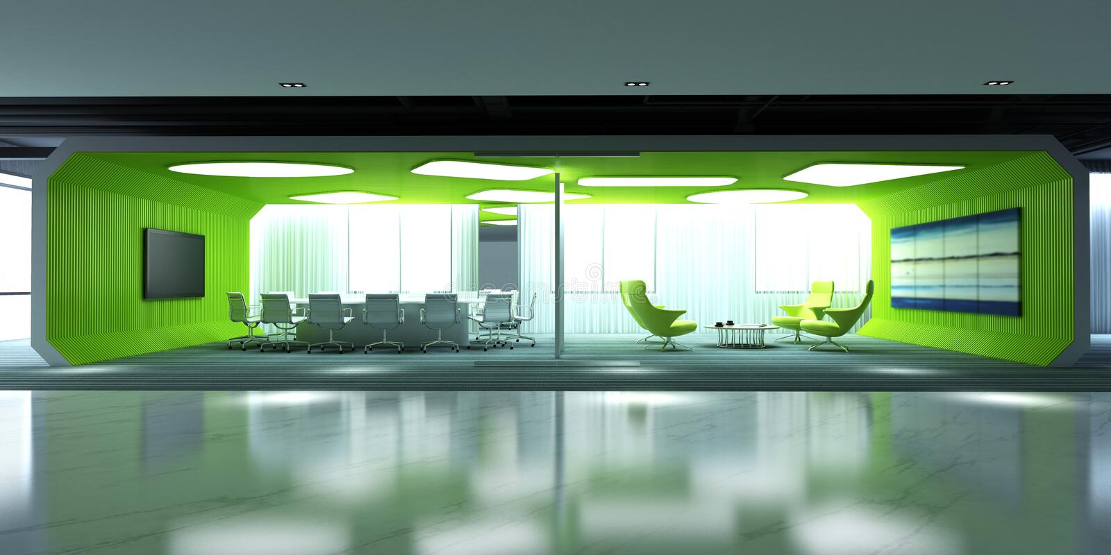 3d render of working room. 3d render of working space, exhibition stand vector illustration