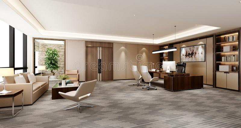 3d render of working room. 3d render of working space, office interior royalty free illustration