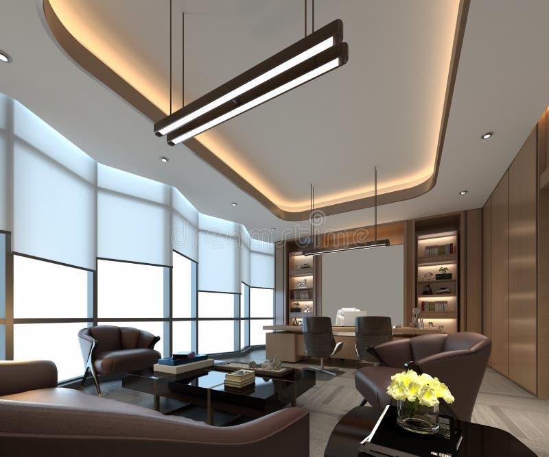 3d render of working room. 3d render of working space, office interior vector illustration