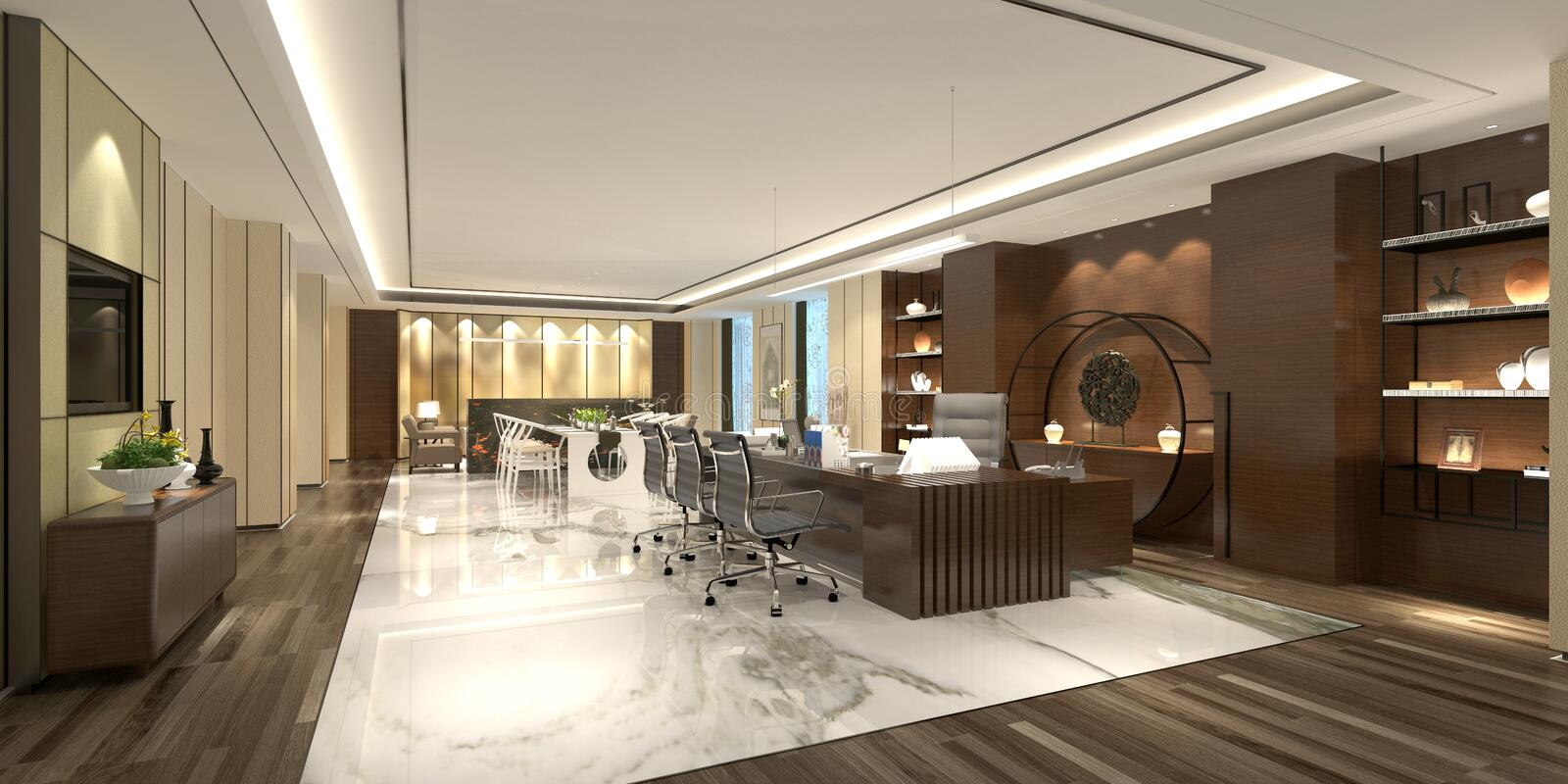 3d render of working room. 3d render of working space, director room, office royalty free illustration