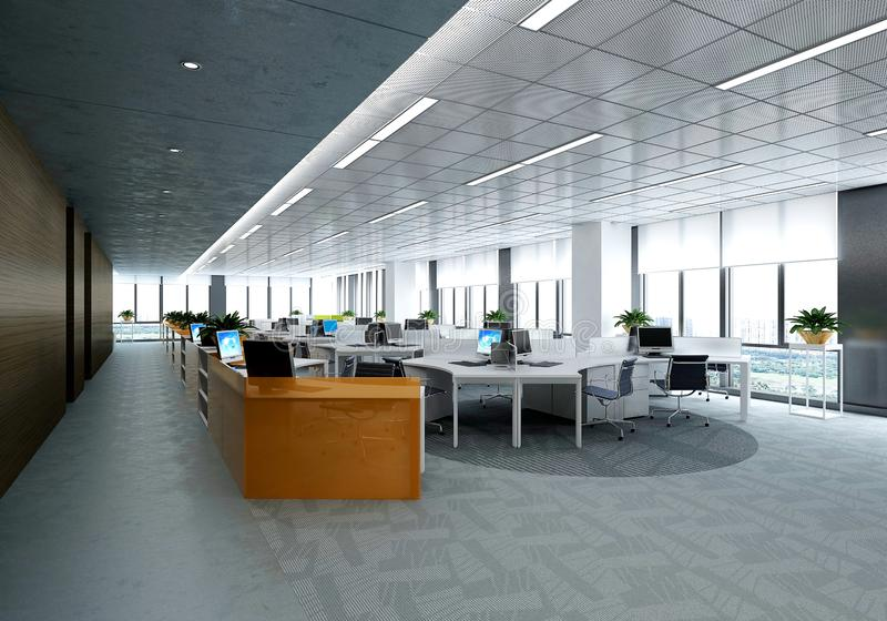 3d render of working room. 3d render of working space, meeting room vector illustration