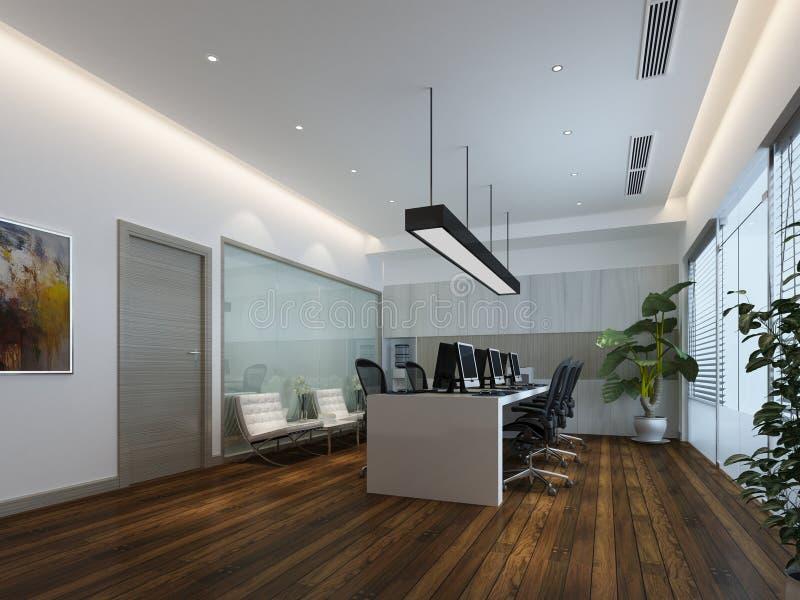 3d render of working room. 3d render of working space, meeting room stock illustration