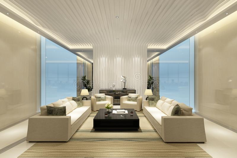 3d render of working room. 3d render of working space, meeting room royalty free illustration