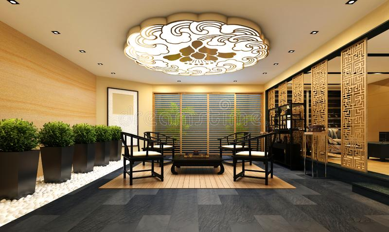 3d render of working space. Office interior royalty free illustration
