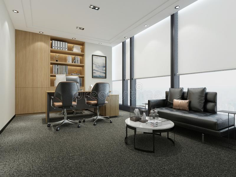 3d render of working office. 3d render of working space, office interior stock illustration