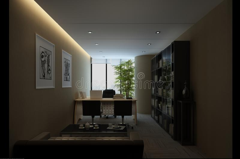 3d render of working room. 3d render of working space, office interior stock illustration