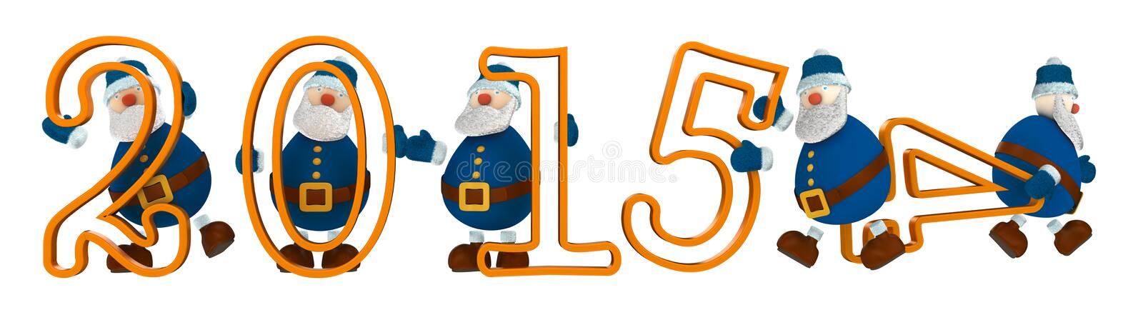 3D render with year 2015 with digits held by cartoony old men dressed in blue royalty free stock photo