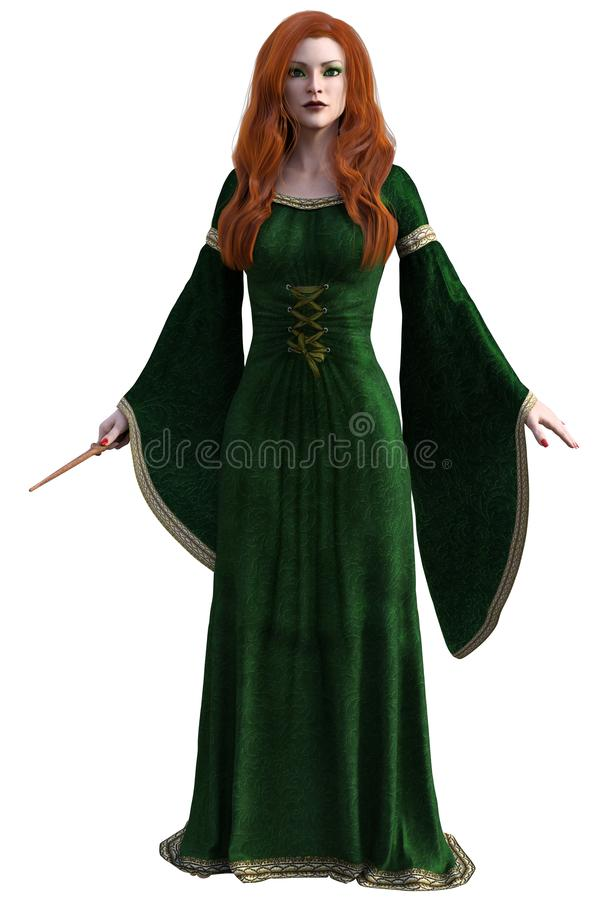 Sorceress with red hair and magic wand royalty free illustration