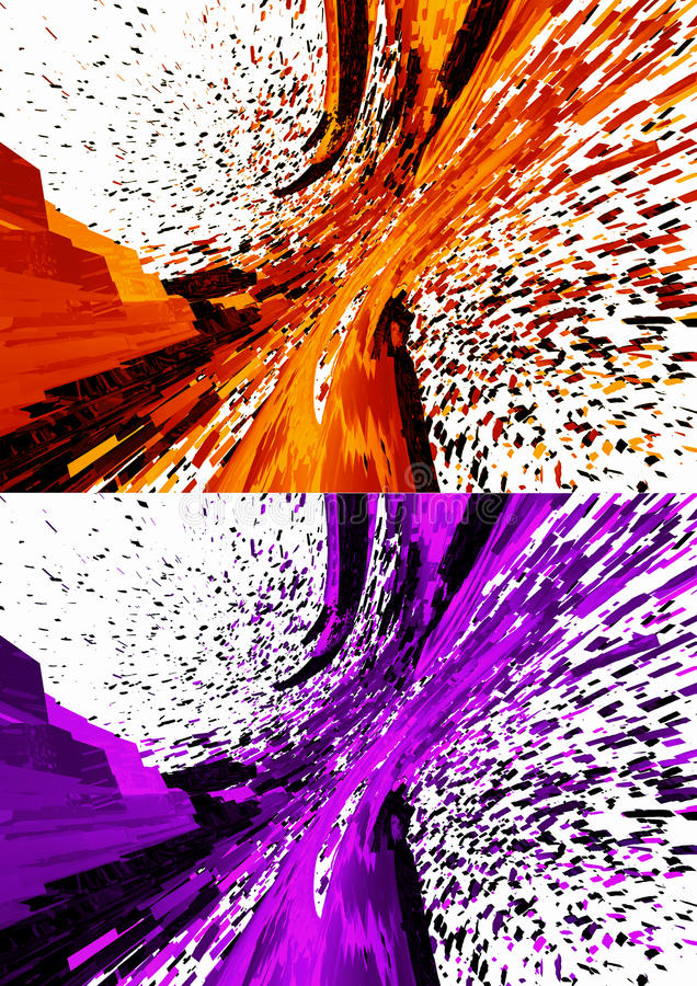 3D Rendered abstract backgrounds. Modern design in violet and orange colors, glossy glass texture & explosion effect royalty free illustration