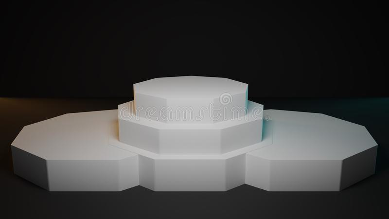 White pedestal composed of geometric shapes in a studio. vector illustration