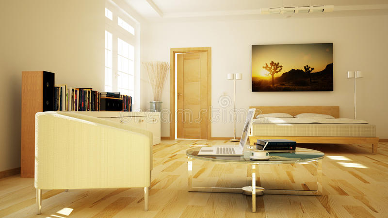 3D rendered apartment royalty free illustration