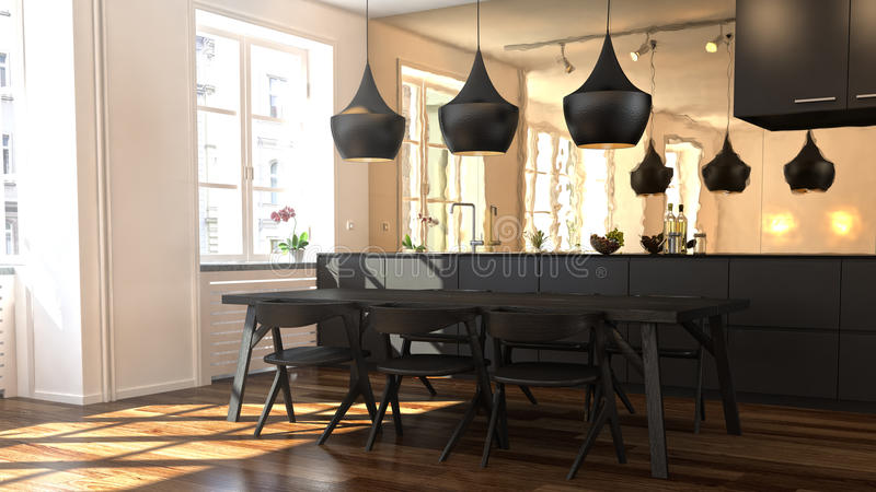 3D rendered apartment. With dining table stock illustration