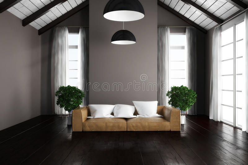 3D rendered apartment scene. With sofa and bright windows stock illustration