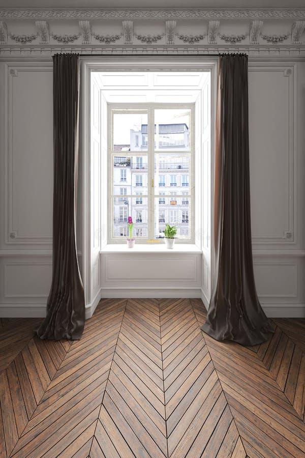 3D rendered apartment scene with wooden floor vector illustration