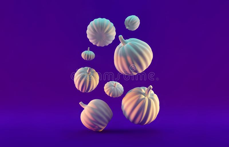 3d rendered background with Halloween Pumpkin. Holiday Illustration. Copy space.  stock illustration