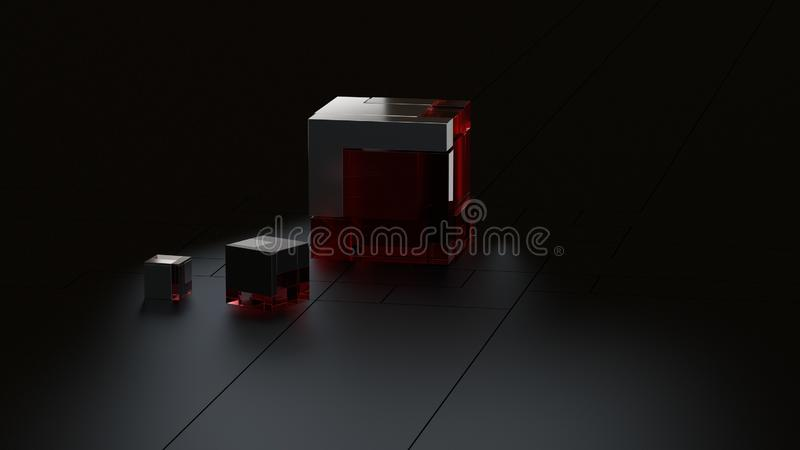 3D rendered background of hi-tech metal and glass cubes in dark studio. 3D rendered background of light gold cubes in illuminated studio. It is suitable for royalty free illustration