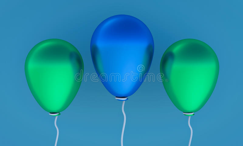 3d rendered balloons. 3d rendered three colorful balloons vector illustration