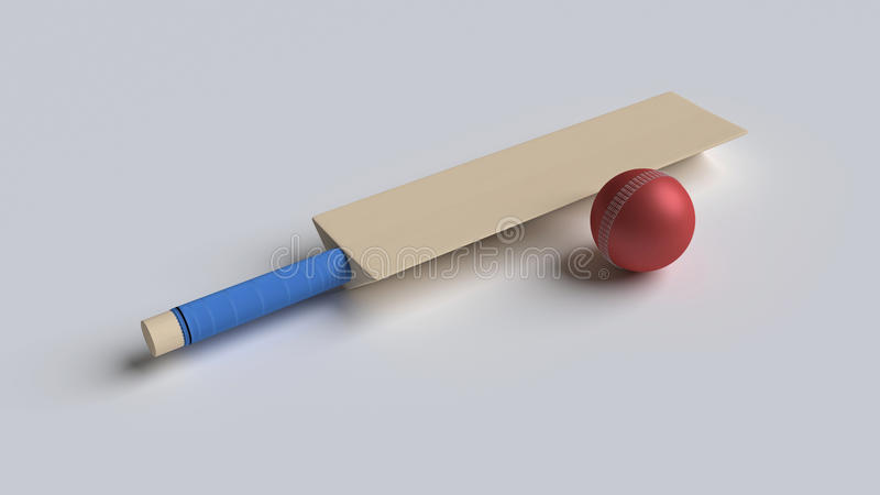 3d rendered bat and ball. 3d rendered isolated bat and ball kept in a white background stock illustration