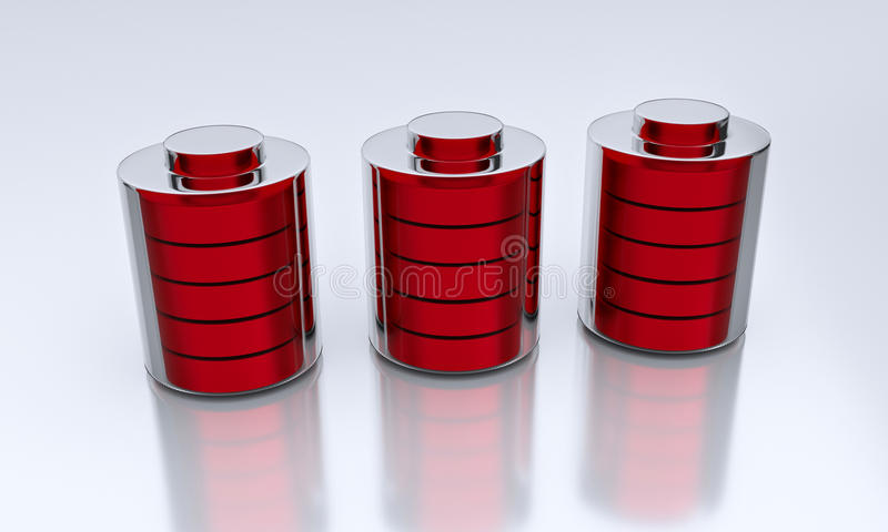 3d rendered batteries. 3d rendered 3 red batteries kept on a white surface royalty free illustration
