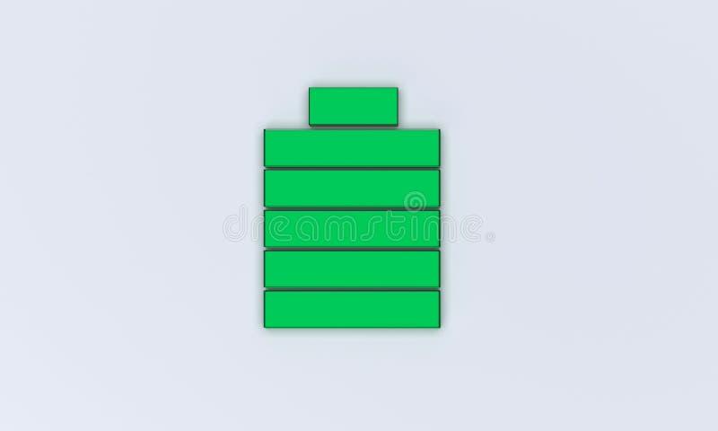 3d rendered battery. 3d rendered flat battery design royalty free illustration