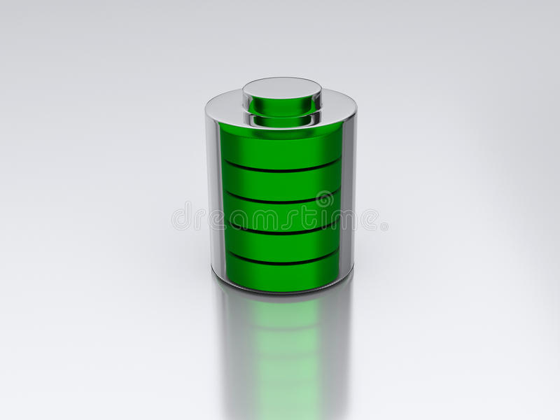 3d rendered battery. 3d rendered green battery kept on a white surface royalty free illustration
