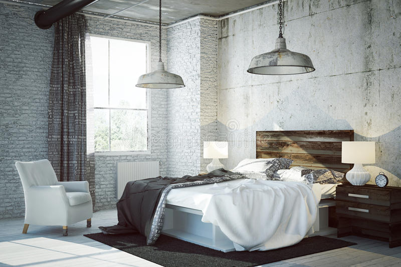 3D rendered bed room stock illustration