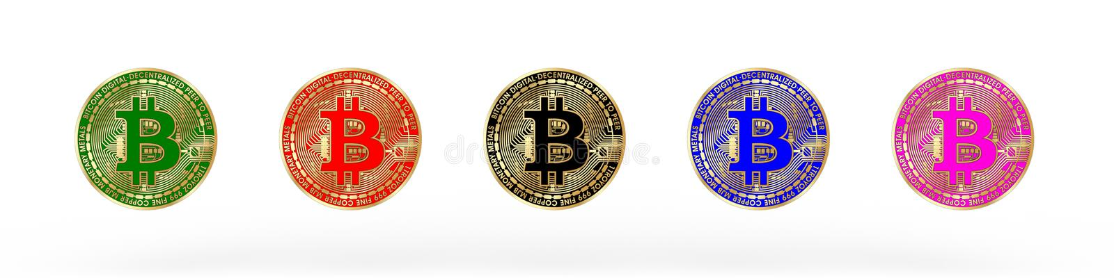 3D rendered Bitcoin illustration. With five different colors on a white background vector illustration