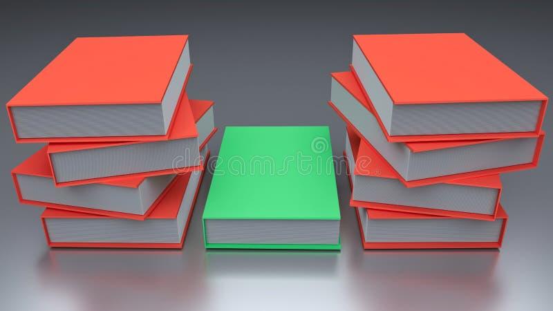 3d rendered books. 3d rendered colorful books stock illustration