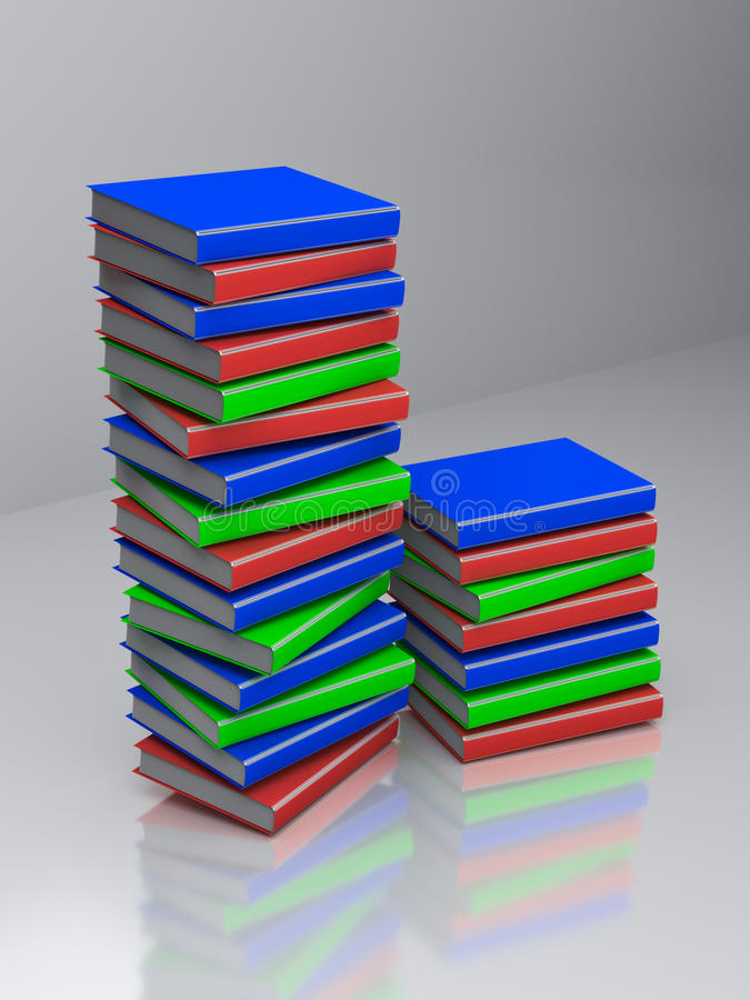 3d rendered books. 3d rendered colorful books placed on a transparent floor stock illustration