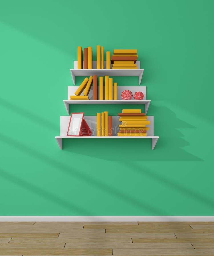 3d rendered bookshelves. royalty free stock photo