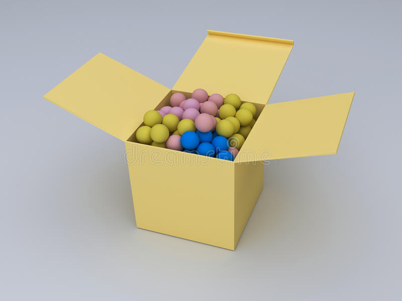 3d rendered box. And balls kept on a white surface royalty free illustration