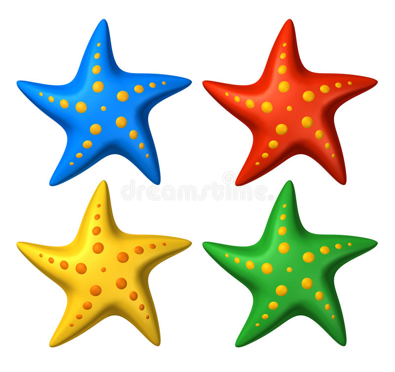 3D rendered collection of colorful stylized starfish toys. Isolated on white royalty free illustration