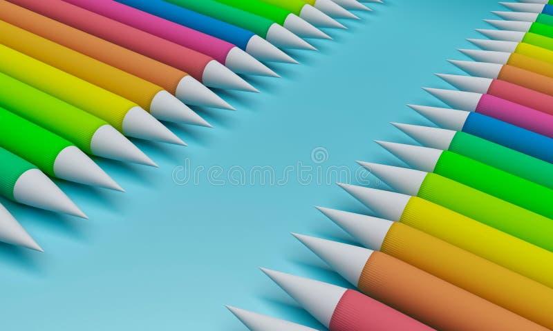 3d rendered color pencils. 3d rendered colorful color pencils royalty free illustration