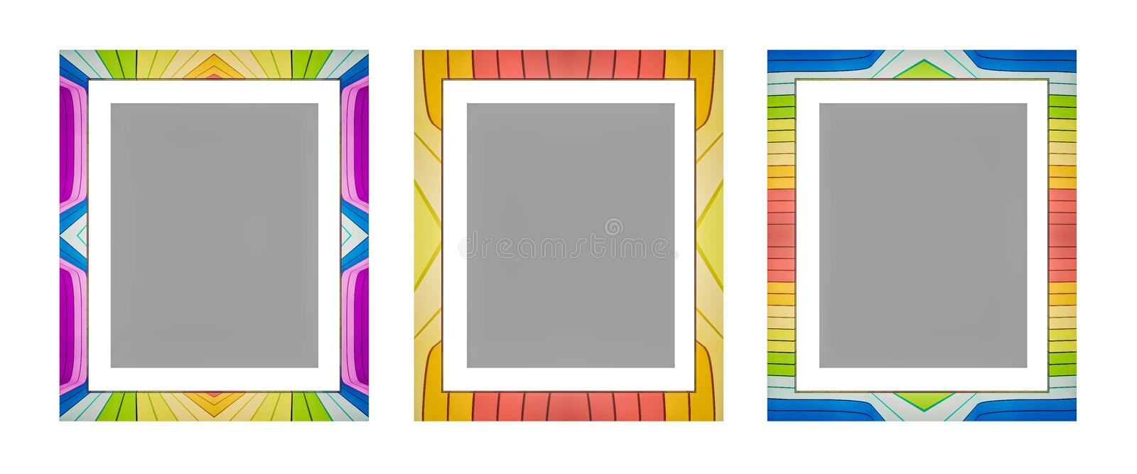 3d rendered, colorful picture frame, isolated on white background. 3d rendered. colorful picture frame, isolated on white background vector illustration