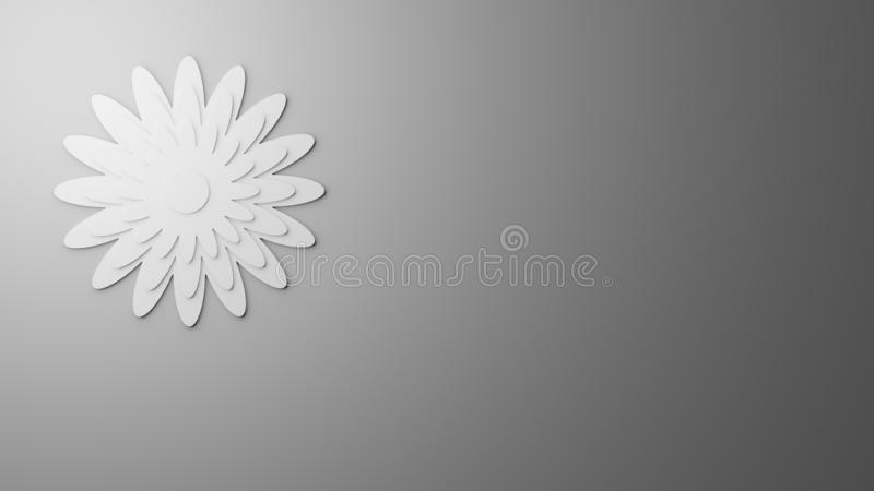 White paper cutting flower art on gray concrete texture background, copy space. 3D rendered computer generated image of white paper cutting flower art on gray vector illustration