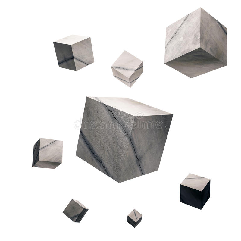 3D rendered, Cracked concrete cubes, on white background. 3D rendered. Cracked concrete cubes, on white background vector illustration