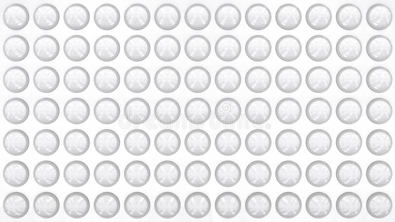 Modern style white wall decorated with transparent glass round objects. 3D rendered pattern. royalty free illustration