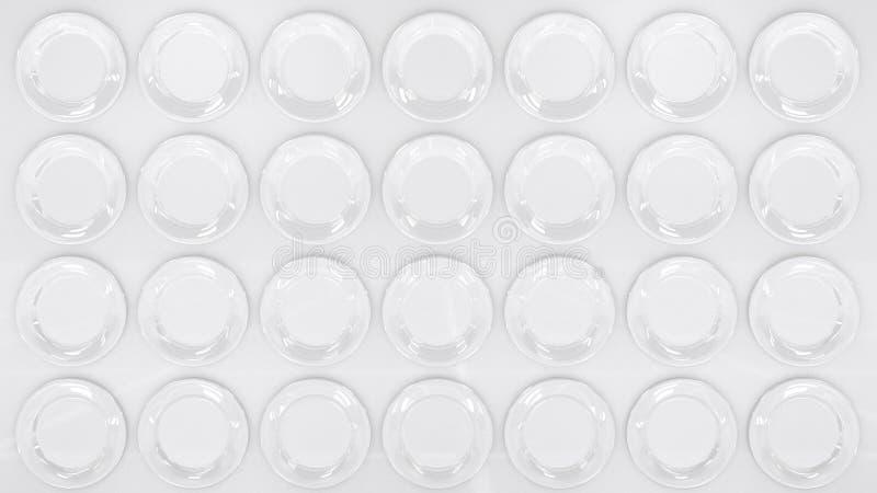Modern Style White Surface in White Plates like Disks. Decorative wallpaper background. 3D render. stock illustration